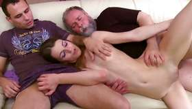 Flat chested tramp riding and engrossing insane 3some