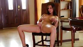 Astounding brown-haired chick playing with great magic wand
