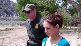 Bitty brown-haired greatness got fucked by a border patrol agent