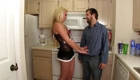 Delightful young sluttish fair-haired is taking her bf in land of fantasies