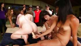 Naughty honeys enjoying one by one other publicly