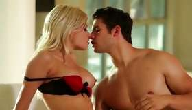 Whimpering angel with yellowish haired hair is having a sexual intercourse with her male