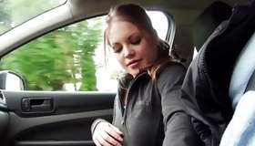 Brilliant young doxy scrubbing a willy in the car